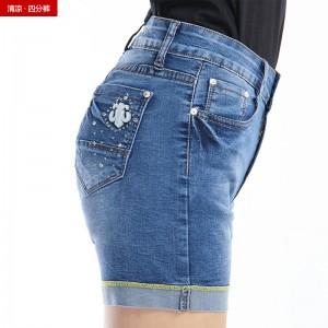 2015夏季青春时尚短裤修身弹力女装牛仔裤