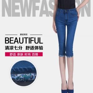 夏季牛仔裤修身弹力简约时尚七分裤女装