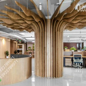 无锡越众办公总部装修 铝方通 铝方管 铝合金仿木纹树枝造型